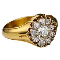 Antique 1800s Men's Diamond Cluster Gold Ring