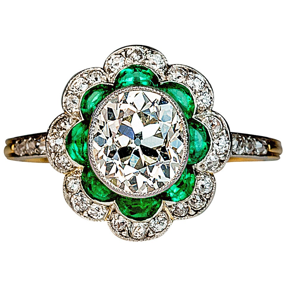1920s Art Deco Emerald Diamond Platinum Engagement Ring 1