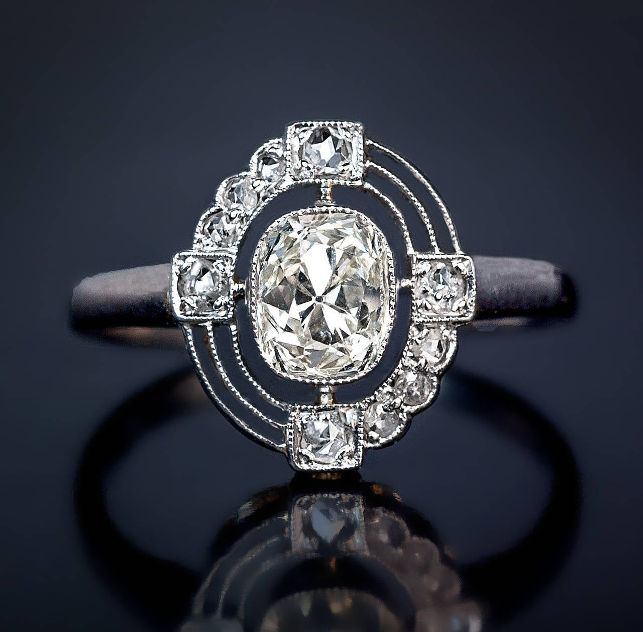 pave pav clear rose with cut white diamond halo of kind a rings ring asymmetrical geometric products one engagement