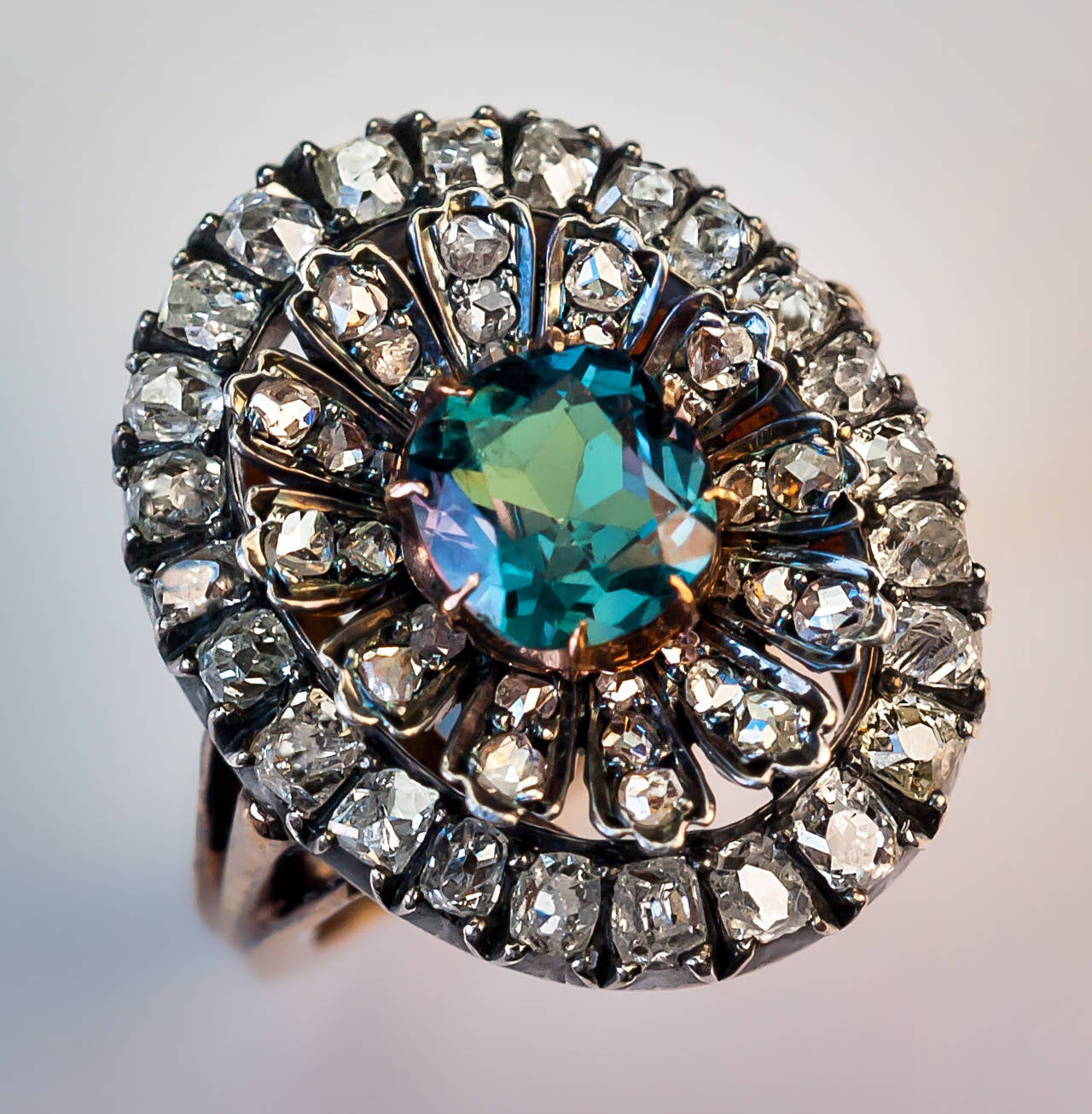 Rare Antique Russian Alexandrite Diamond Cluster Ring At