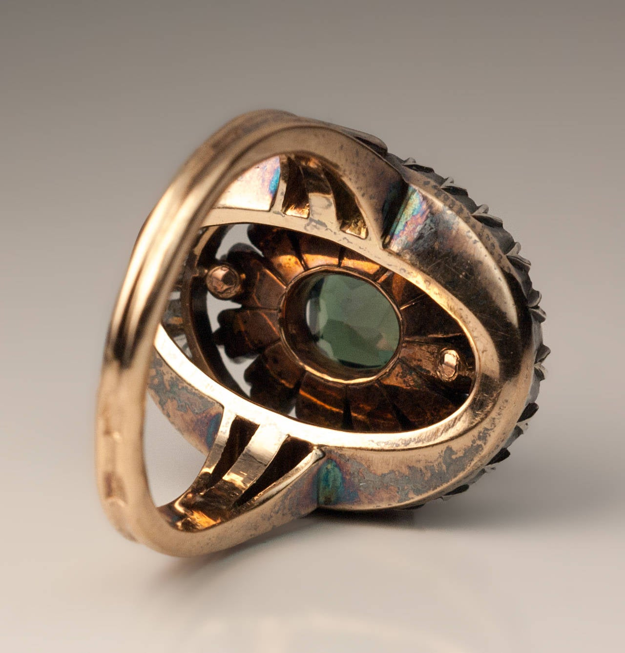 antique russian alexandrite cluster ring at
