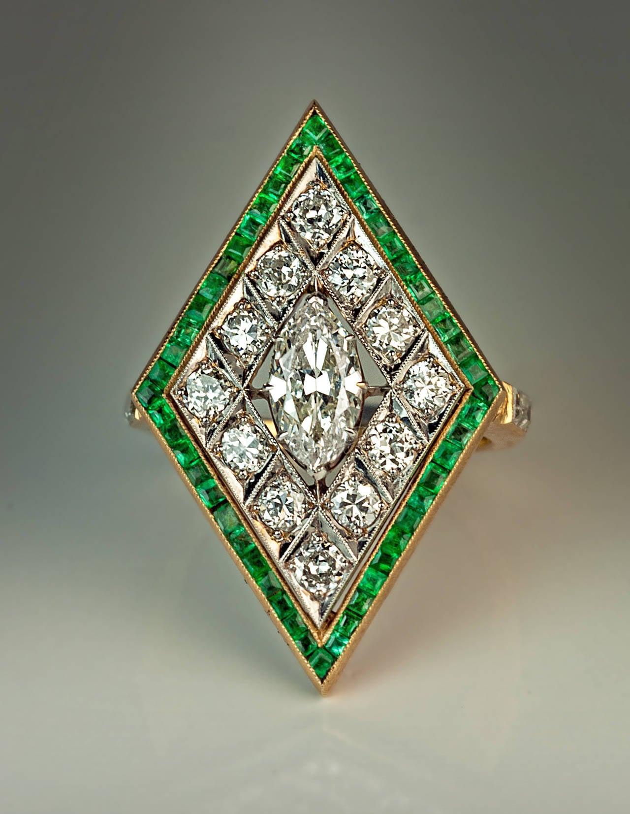 Art Deco Rhombus Shaped Diamond Emerald Gold Ring For Sale 3