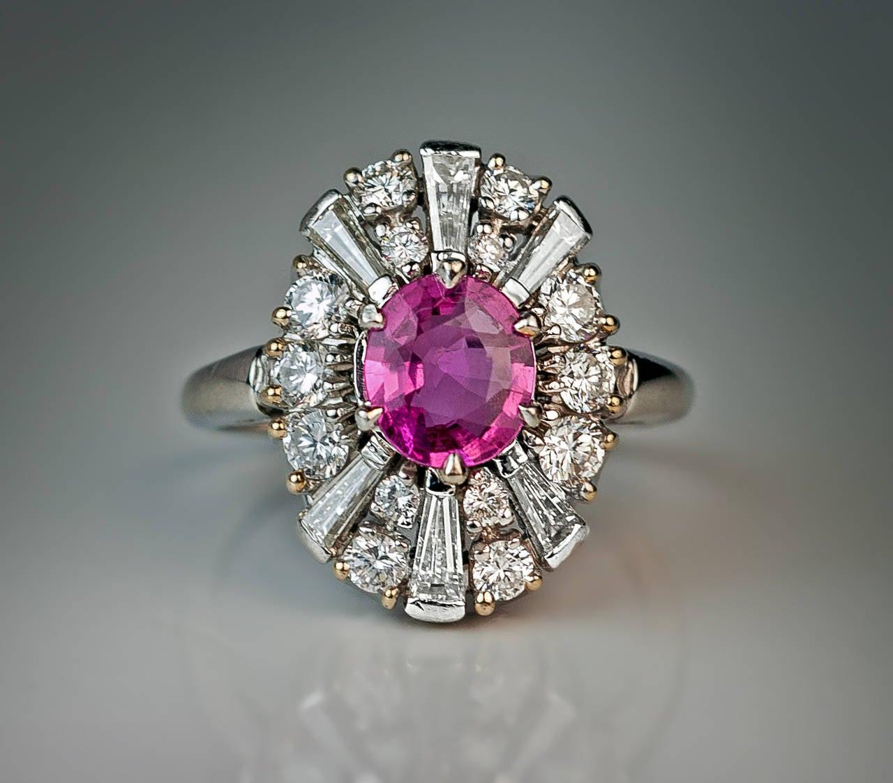 Pink Sapphire Diamond Platinum Ring At 1stdibs