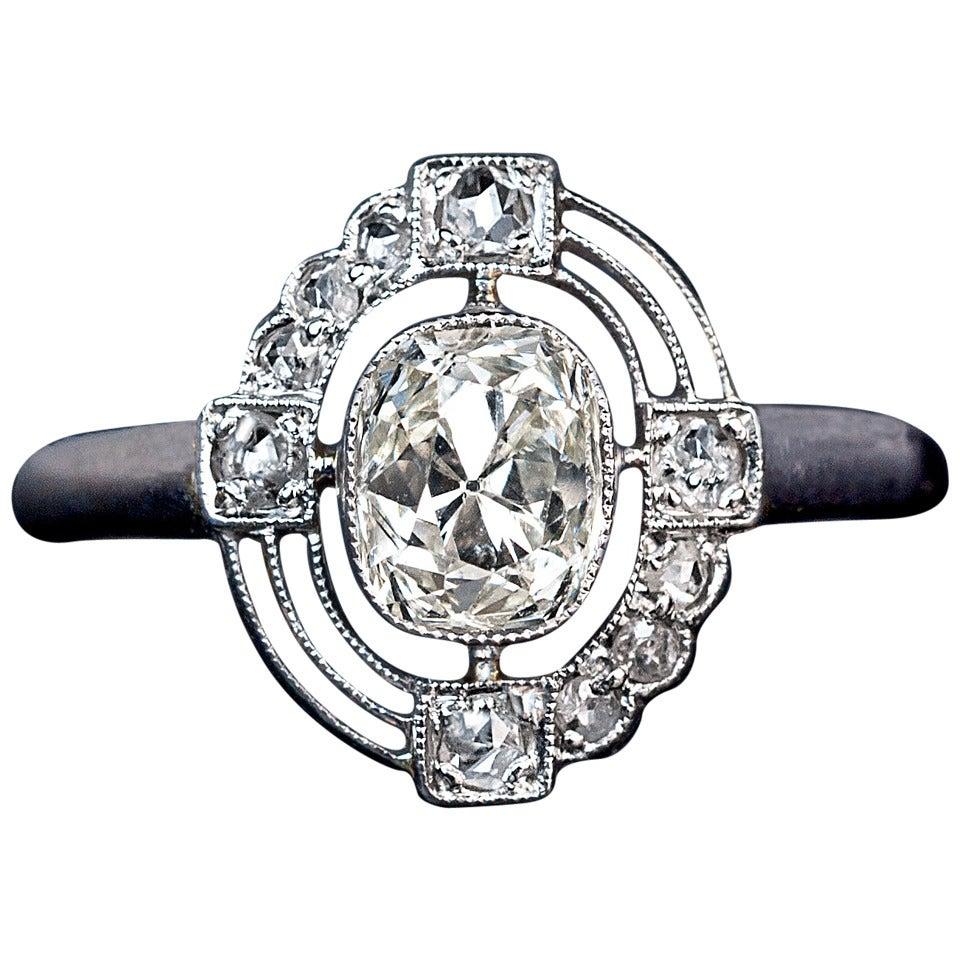 russian deco platinum engagement ring at 1stdibs