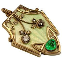 Antique Russian Enamel Emerald Diamond Gold Art Nouveau Locket