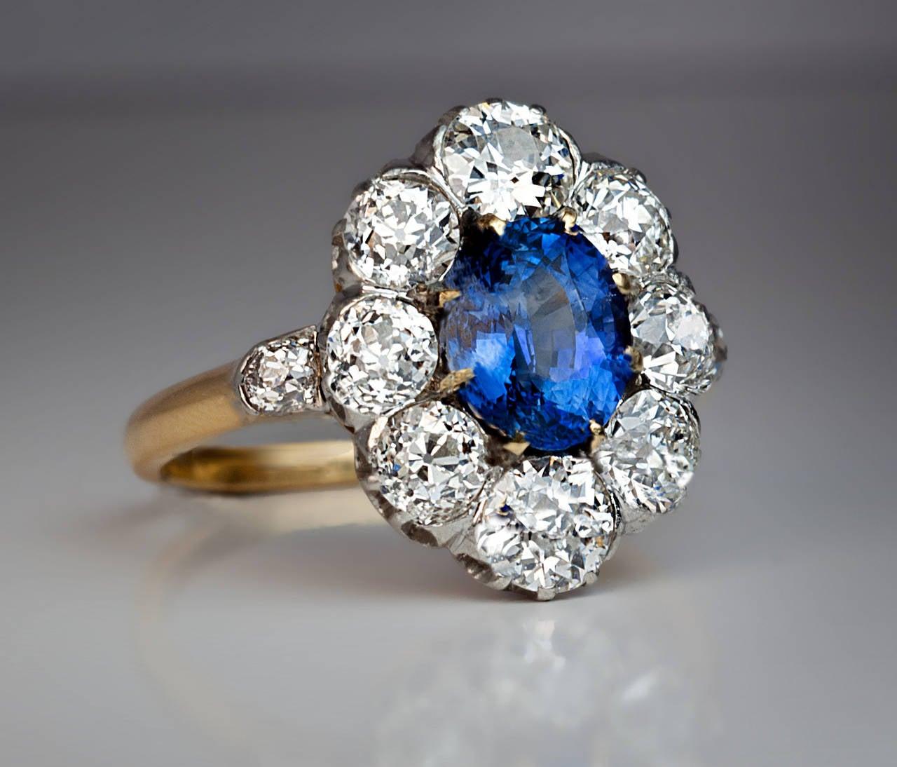 Antique Sapphire Diamond Engagement Ring At 1stdibs