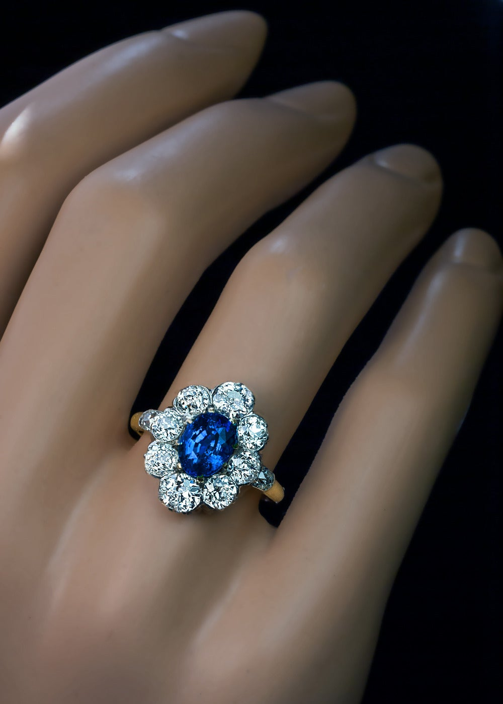 Antique Sapphire And Diamond Cluster Rings