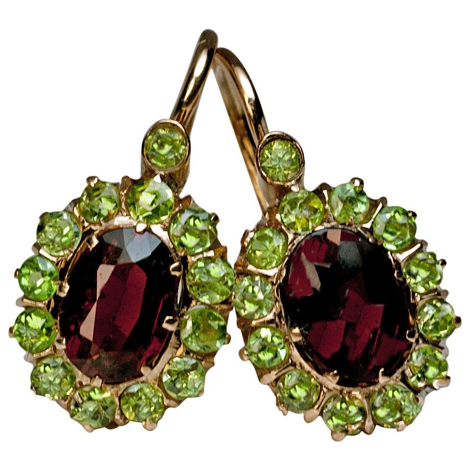 antique hessonite and demantoid garnet gold earrings at