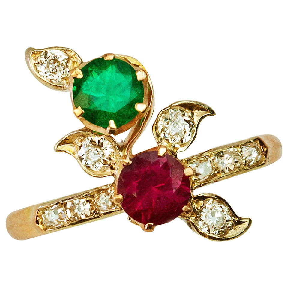 nouveau antique ruby emerald and ring at 1stdibs