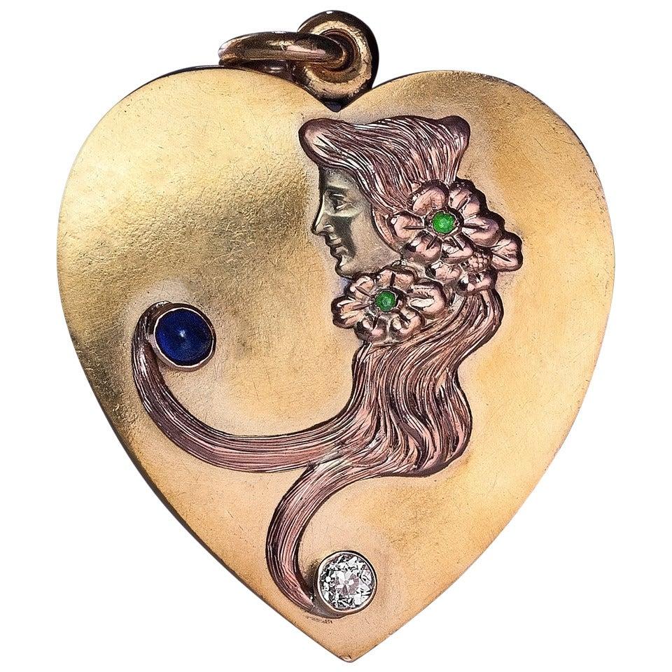 Art Nouveau Antique Russian Heart Shaped Sliding Locket