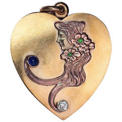 Art Nouveau Antique Russian Heart Shaped Sliding Locket