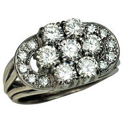 Art Deco Diamond Cluster Engagement Ring