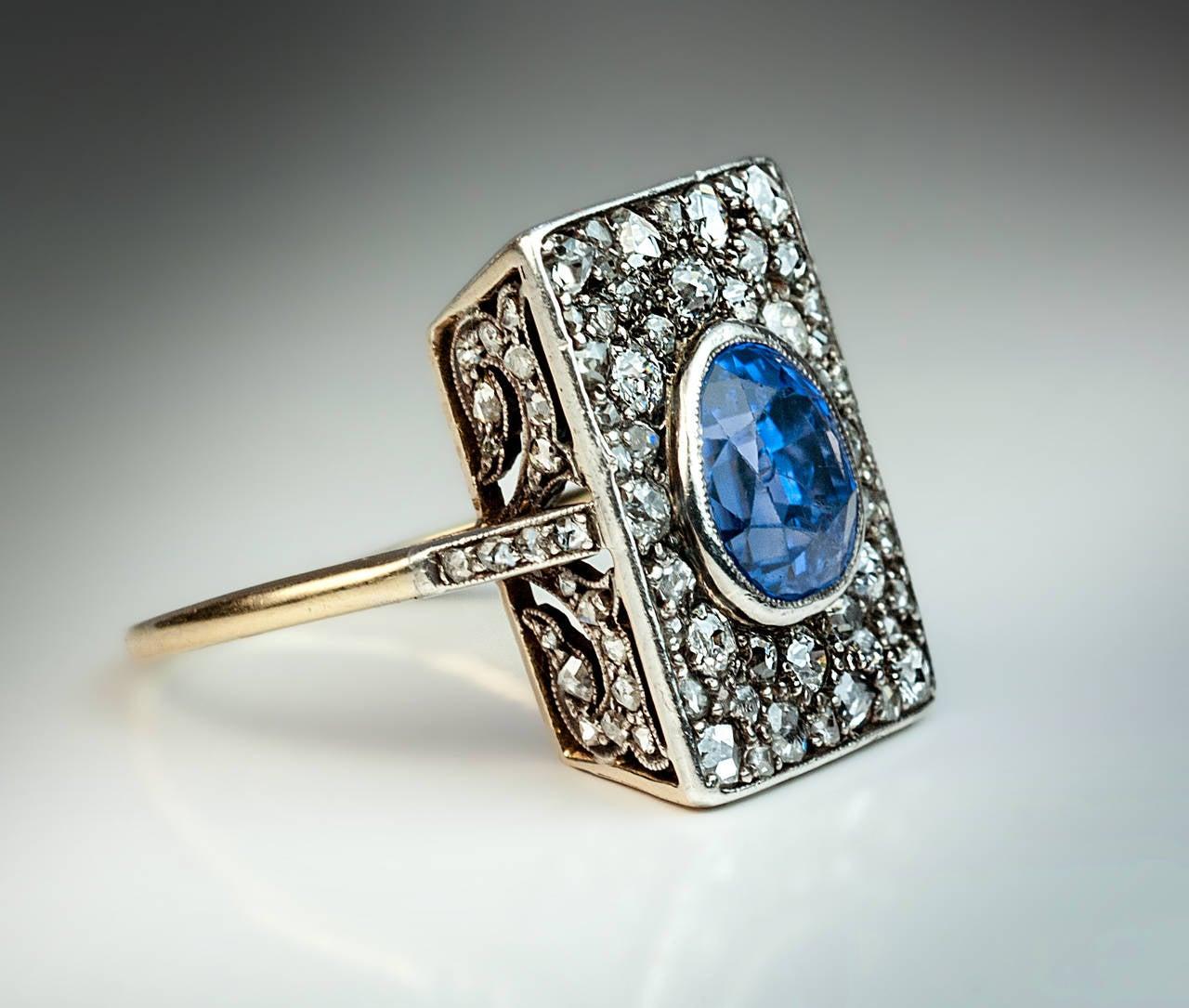 antique 5 carat sapphire diamond gold ring at 1stdibs. Black Bedroom Furniture Sets. Home Design Ideas