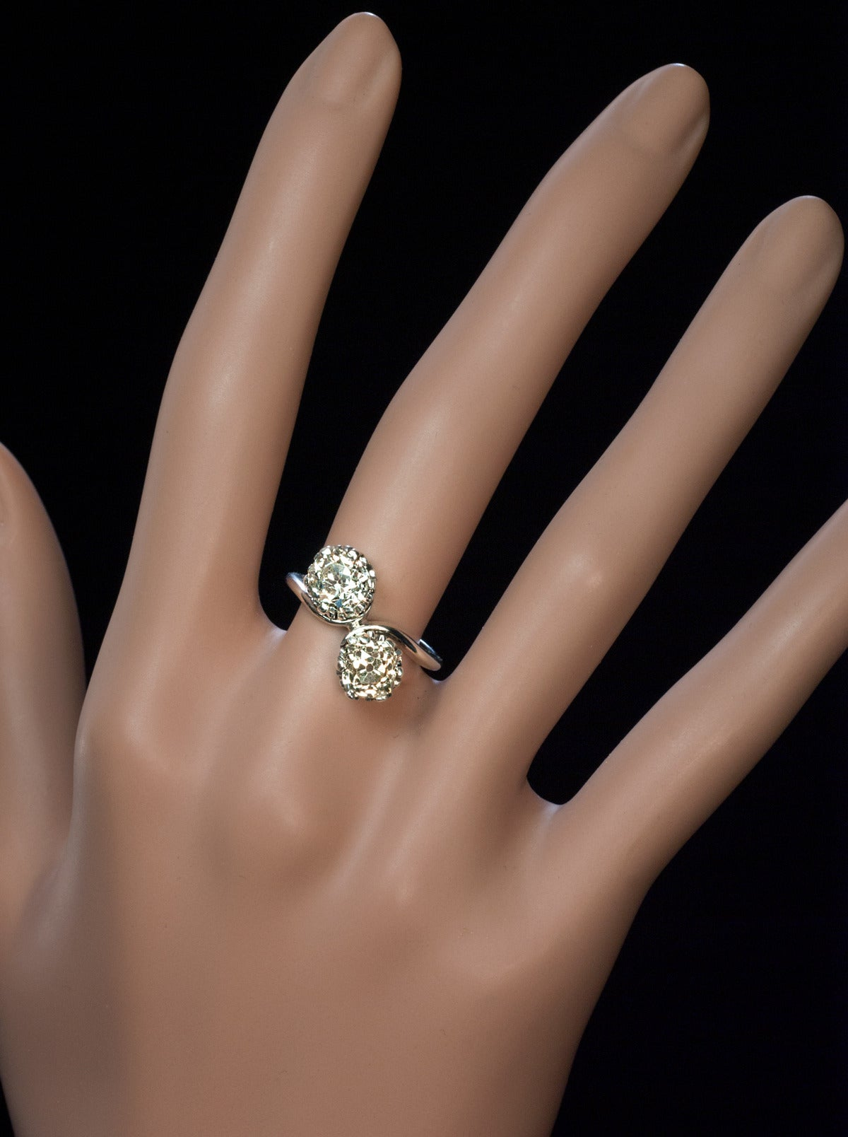 Antique Diamond Gold Bypass Engagement Ring For Sale at 1stdibs