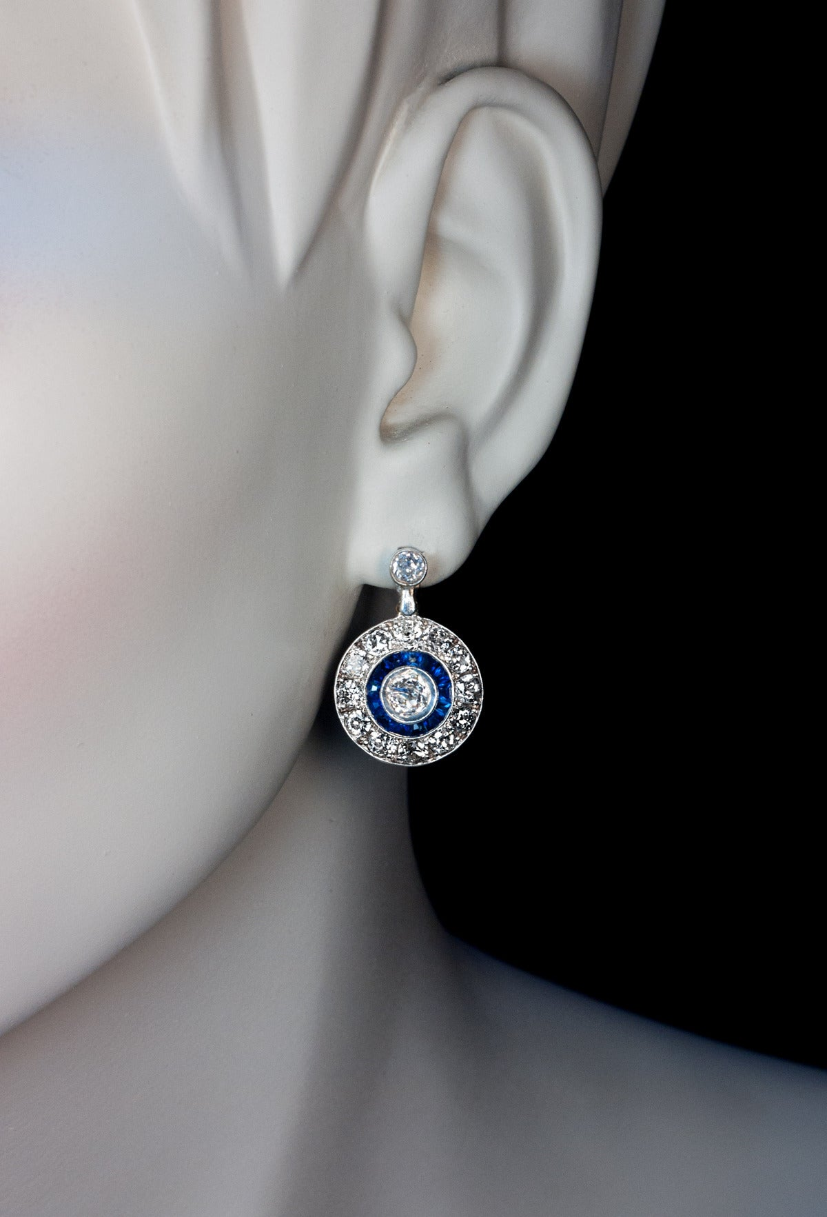 Art Deco Sapphire Diamond Gold Earrings For Sale at 1stdibs