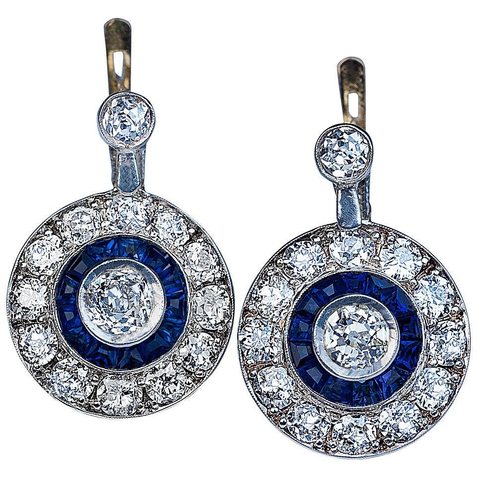 Art Deco Sapphire Diamond Gold Earrings
