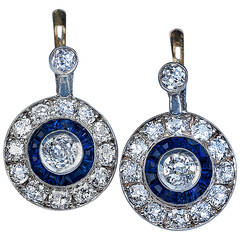 Art Deco Sapphire Diamond Gold Earrings