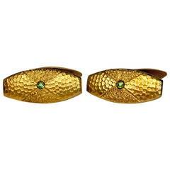 Antique Russian Demantoid Textured Gold Cufflinks