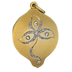 Art Nouveau Russian Diamond Gold Locket
