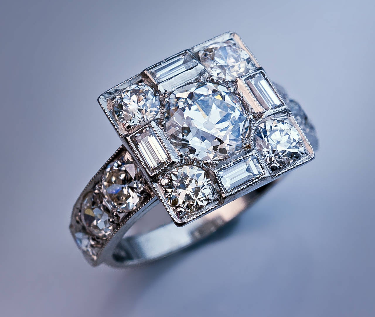 Art Deco Diamond Platinum Cluster Engagement Ring For Sale 2