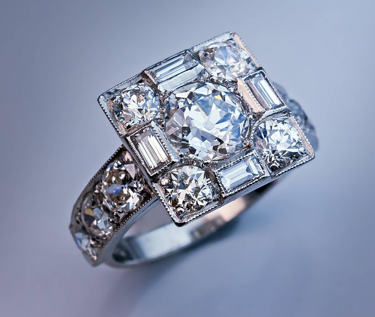 Art Deco Diamond Platinum Cluster Engagement Ring 6