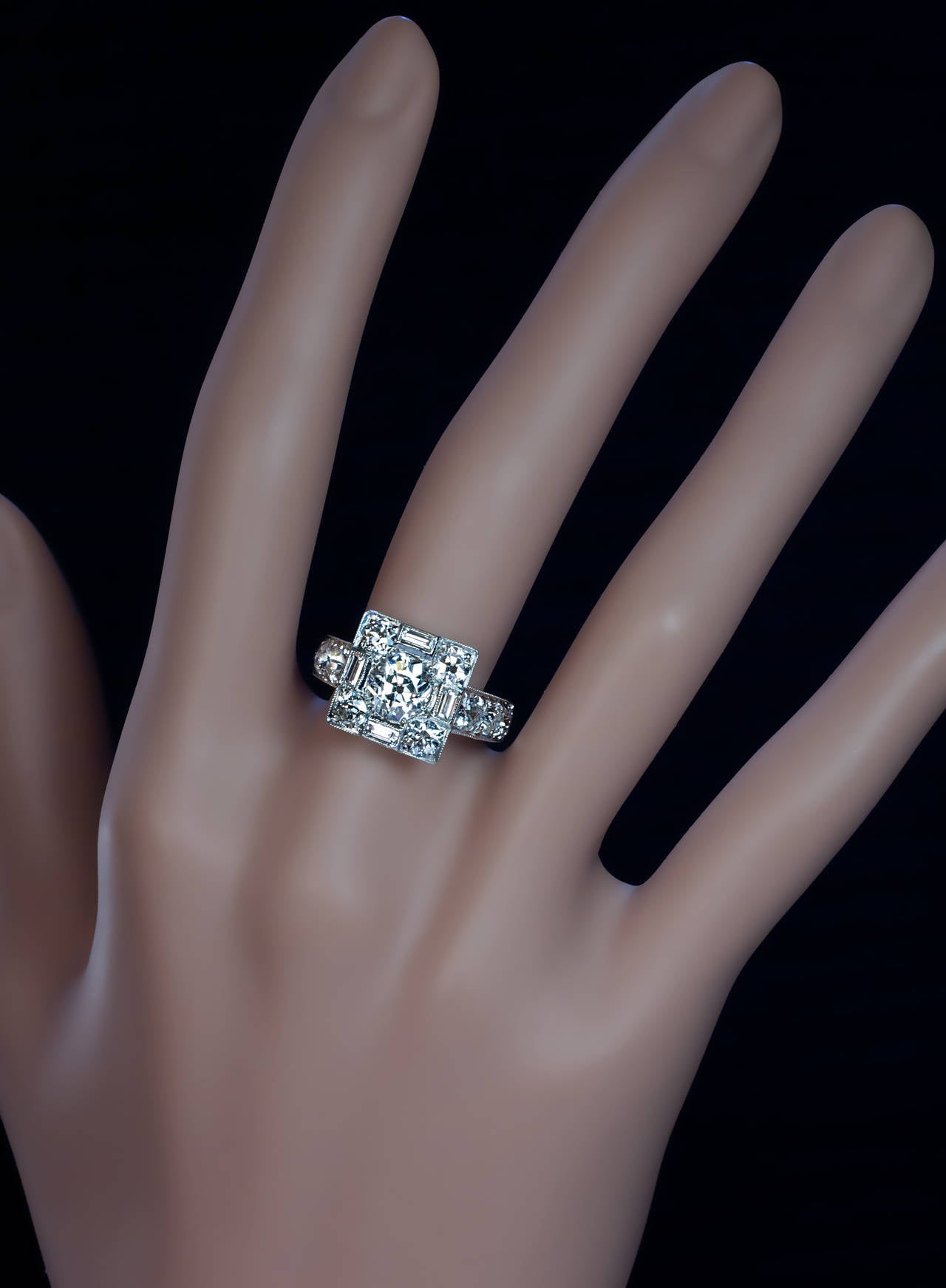 Art Deco Diamond Platinum Cluster Engagement Ring 2