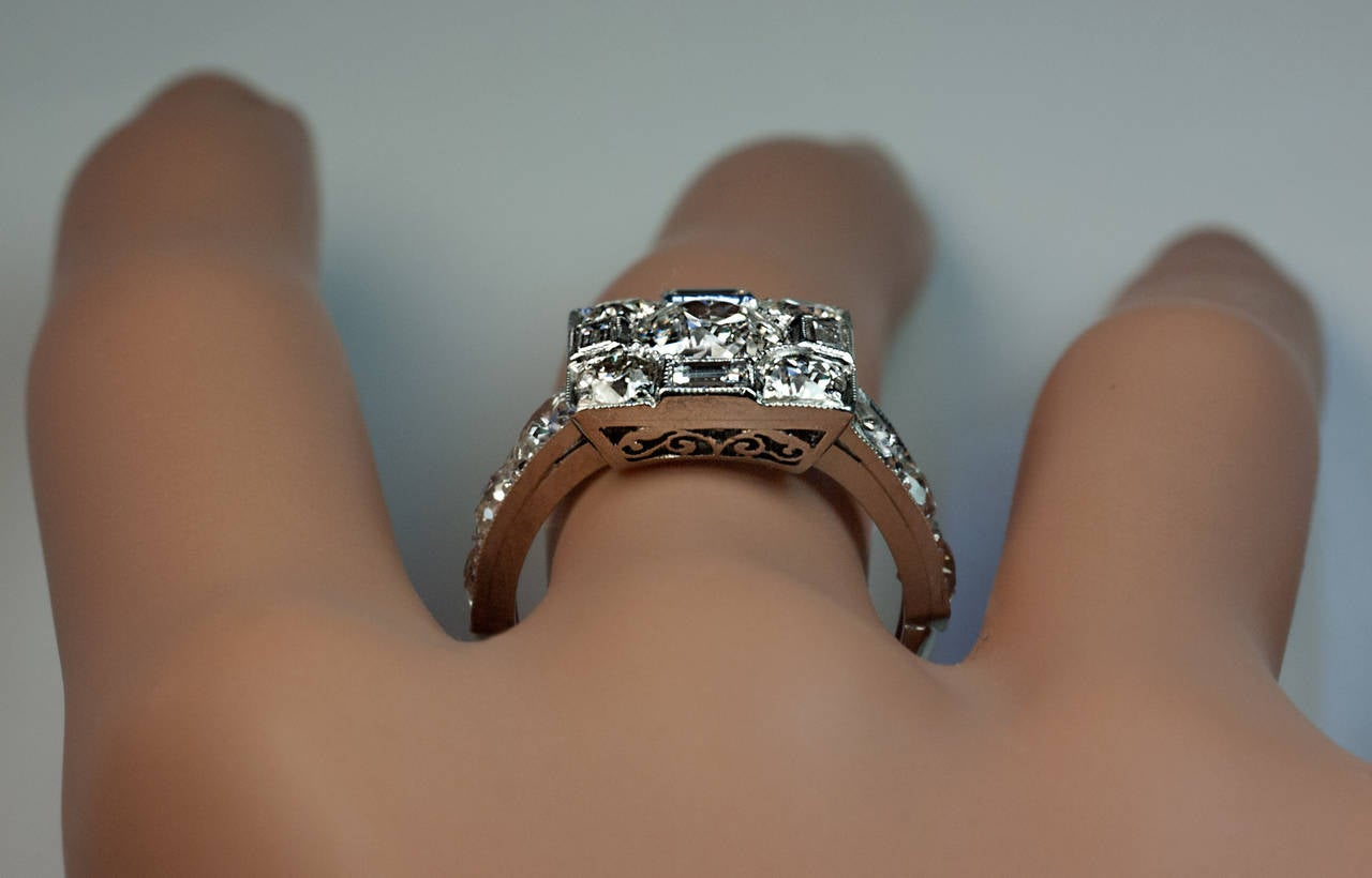 Art Deco Diamond Platinum Cluster Engagement Ring In Excellent Condition For Sale In Chicago, IL