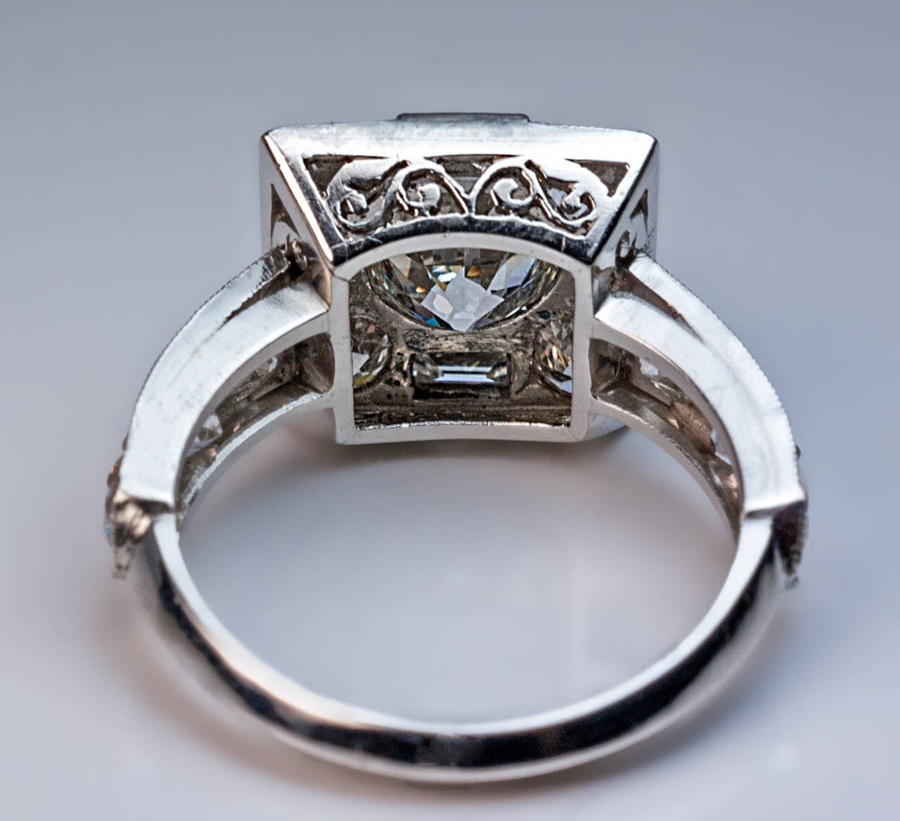 Art Deco Diamond Platinum Cluster Engagement Ring For Sale 1