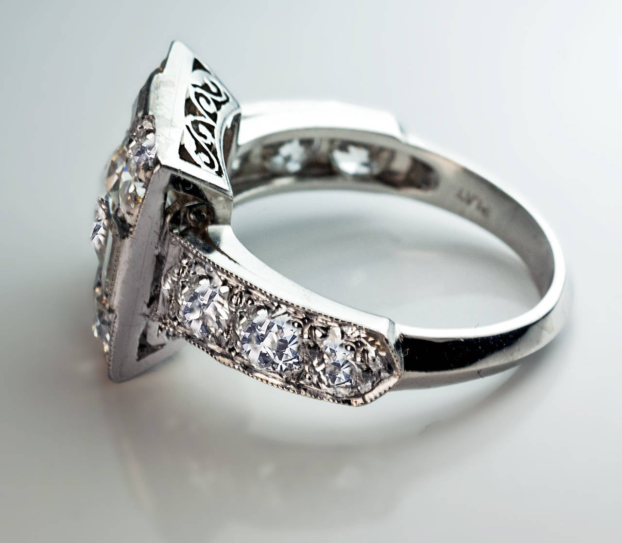 Art Deco Diamond Platinum Cluster Engagement Ring For Sale 3