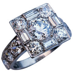 Art Deco Diamond Platinum Cluster Engagement Ring