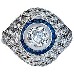 Art Deco Sapphire Diamond Gold Bombe Ring