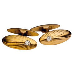 Art Deco Diamond Gold Cufflinks