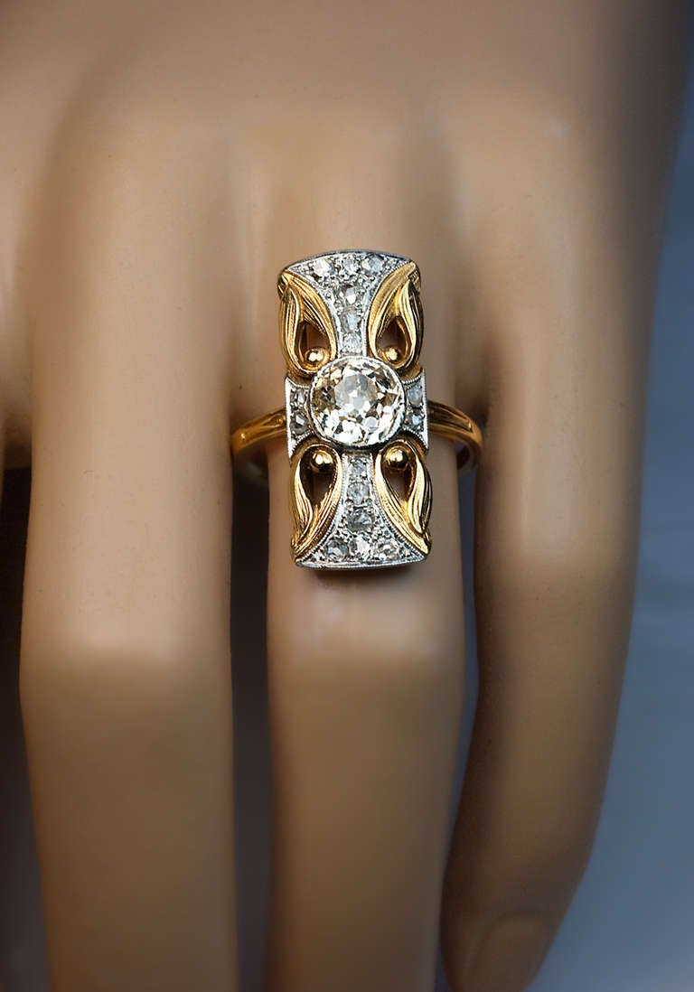 art nouveau diamond platinum ring for sale at 1stdibs. Black Bedroom Furniture Sets. Home Design Ideas