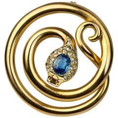 Antique Russian Sapphire Diamond Gold Snake Brooch