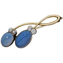 Art Nouveau Sapphirine Diamond Gold Brooch
