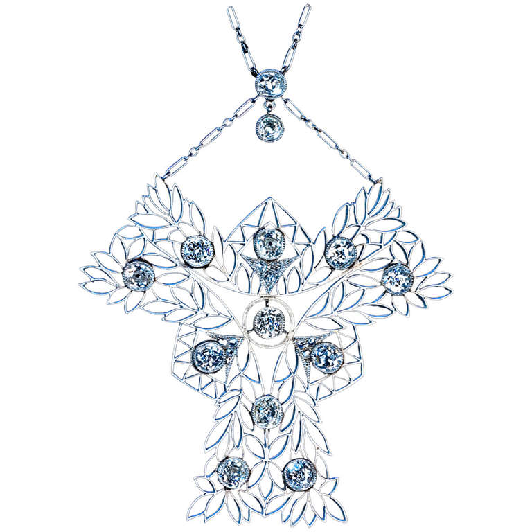 French Art Nouveau Diamond Necklace, ca. 1910, offered by Romanov Russia