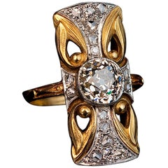 Art Nouveau Antique Diamond Platinum Gold Ring