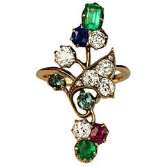 Art Nouveau Antique Gemstone Gold Ring