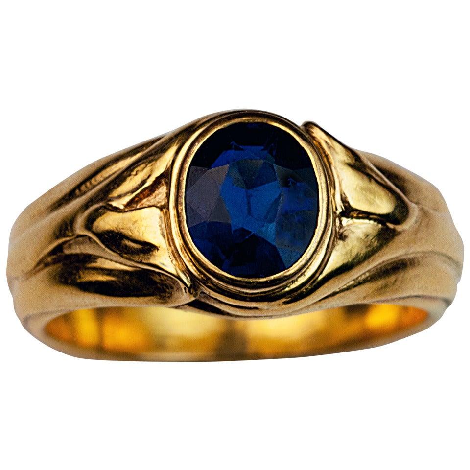 art nouveau antique sapphire gold ring at 1stdibs. Black Bedroom Furniture Sets. Home Design Ideas