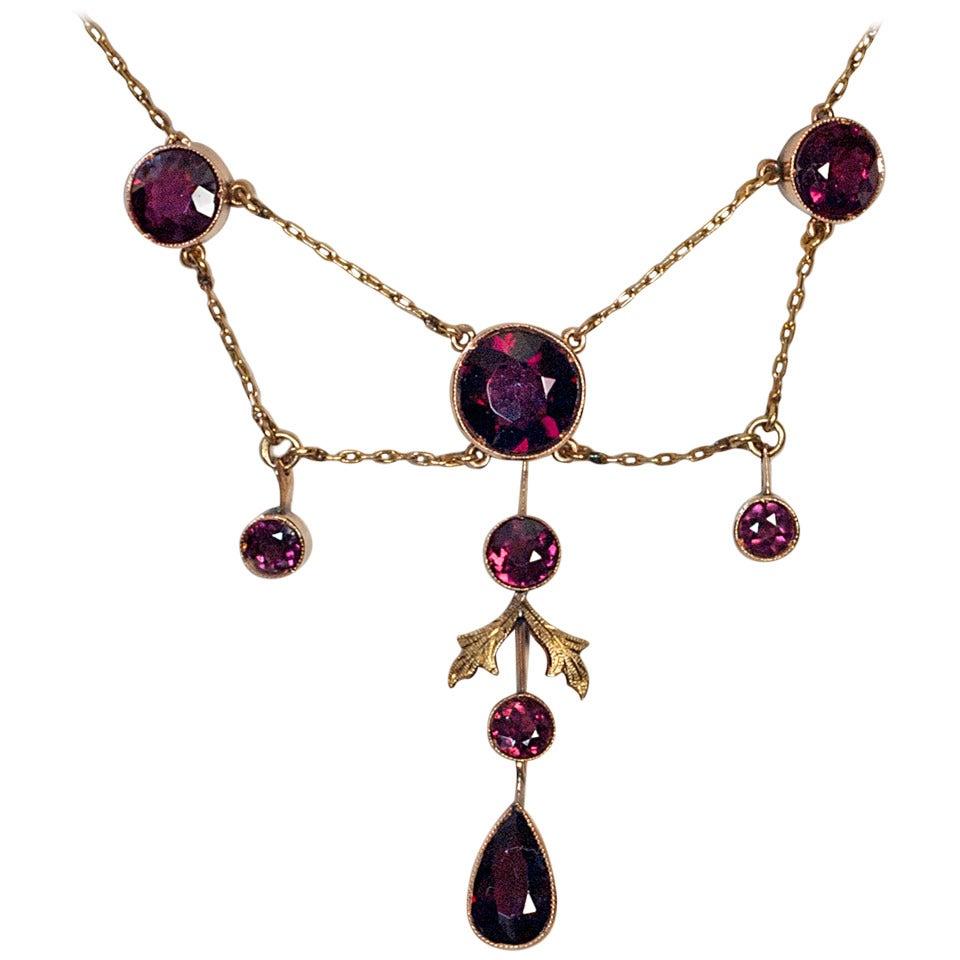 Antique Almandine Garnet Gold Necklace