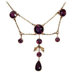 Antique Almandine Garnet Gold Necklace
