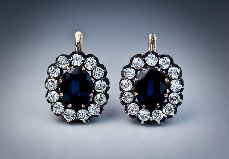 Women's Antique Russian Sapphire Diamond Gold Cluster Earrings For Sale