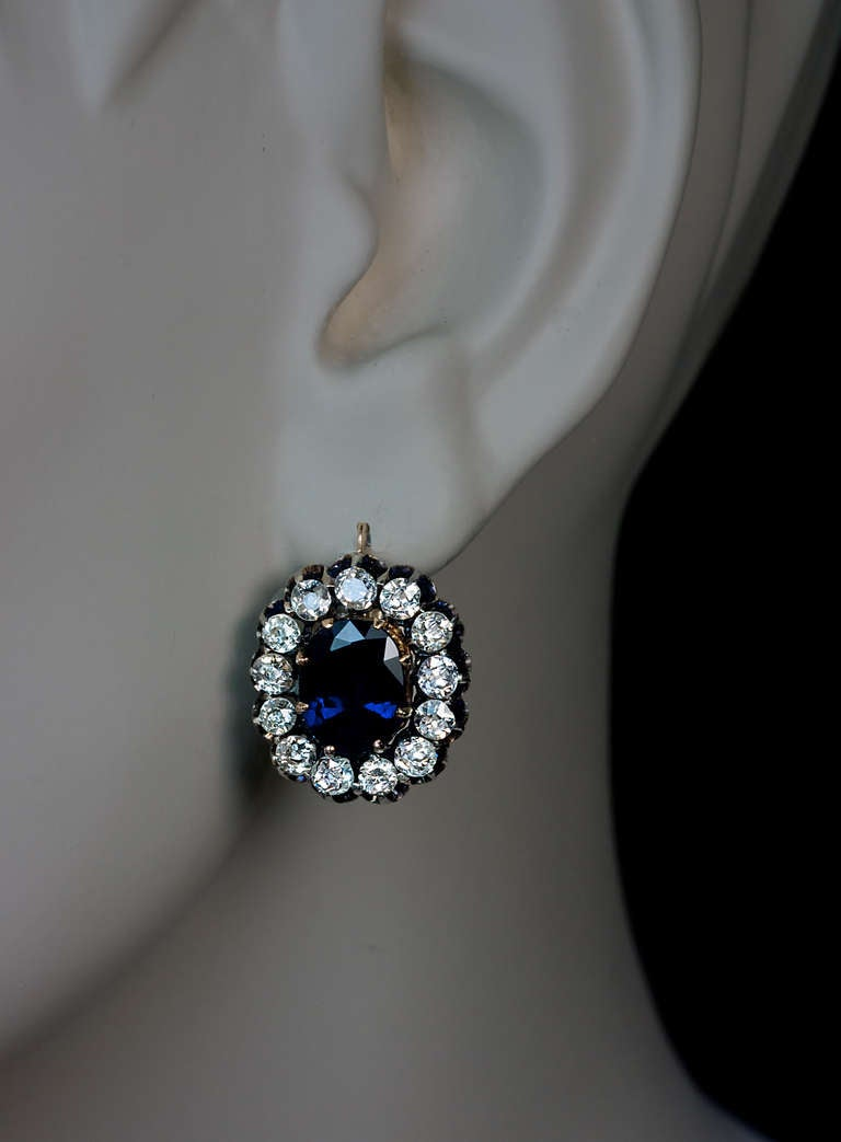 Edwardian Antique Russian Sapphire Diamond Gold Cluster Earrings For Sale