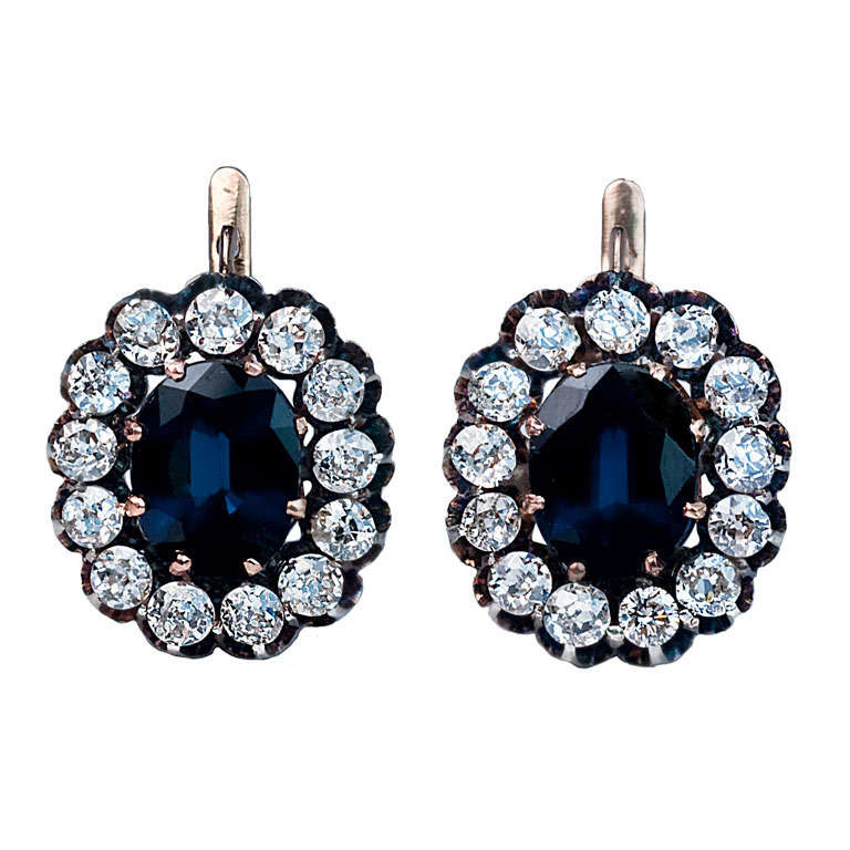 Antique Russian Sapphire Diamond Gold Cluster Earrings For Sale
