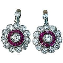 Antique Edwardian Early Art Deco Diamond Ruby Cluster Earrings