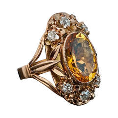 Art Nouveau Citrin, Diamond and Gold Ring