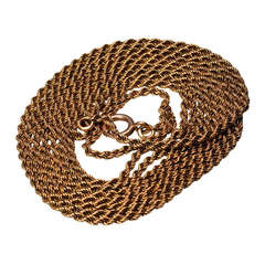 Antique Russian Gold Rope Chain Necklace