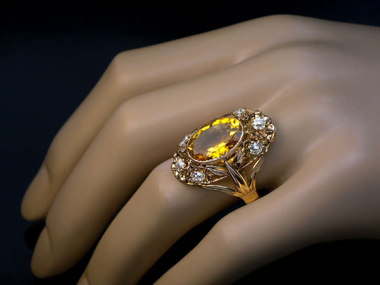 Art Nouveau Citrin, Diamond and Gold Ring 2