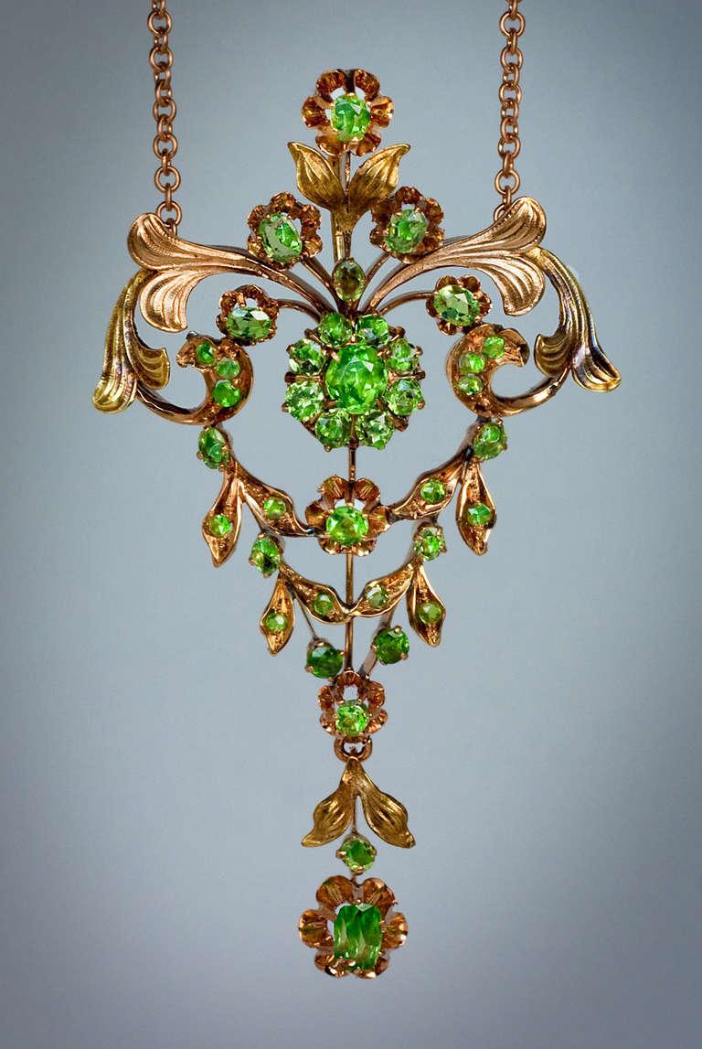 Antique Russian Demantoid Necklace At 1stdibs