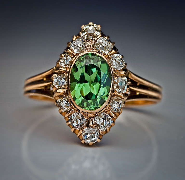 Antique Russian Demantoid Ring 4